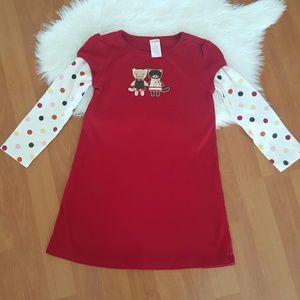Gymboree red long sleeve kitten dress size 5